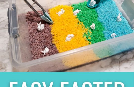 Celebrate Easter with this fun Easter sensory bin for toddlers. Sensory bins are excellent for toddlers learning and developing their senses. Sensory bin ideas for toddlers to celebrate Easter.