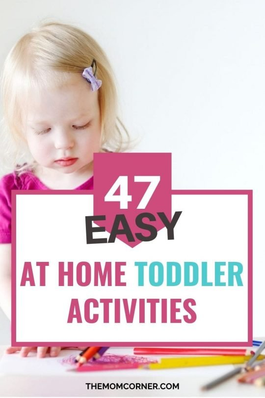 47 At Home Activities For Your Bored Toddler. The big list of easy and cheap at home activities for toddlers for when you're stuck at home.