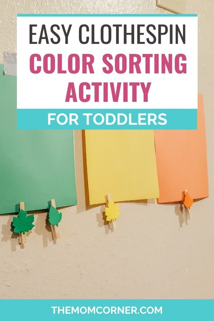 This super simple color sorting activity for toddlers is a great way to learn colors at home. From a year old and up, this activity includes sensory play and motor skill development.