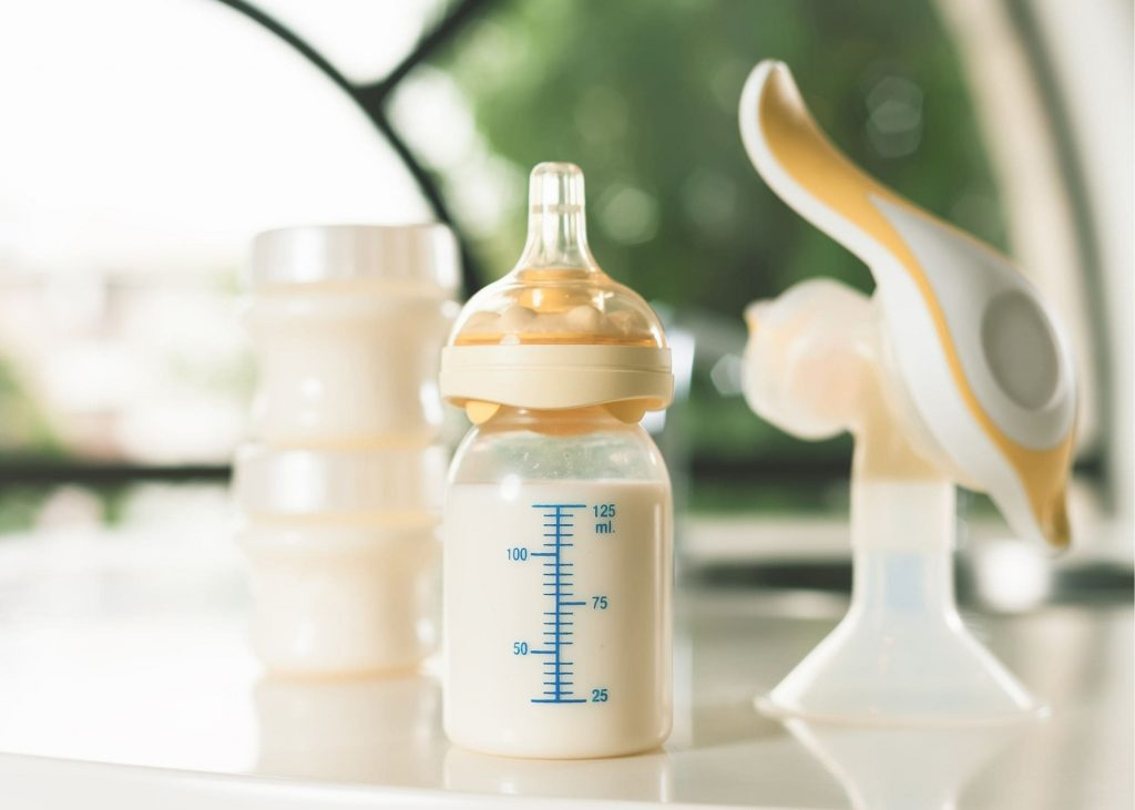 breast pump and bottle